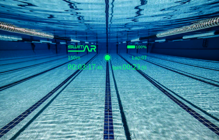 Augmented reality heads up display for swimming and triathlete training